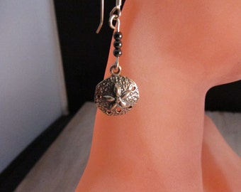 SAND DOLLAR Earrings Hammered Sterling Silver Sand Dollar Hematite Earring Beach Jewelry by SusanHeleneDesigns