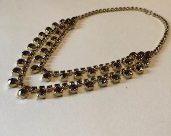 Vintage Citrine Topaz colored crystal paste two strand swag necklace