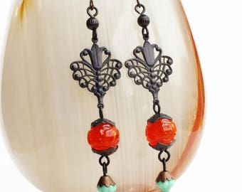 Victorian Orange Dangle Earrings Black Brass Filigree Earrings Long Orange Turquoise Beaded Dangles Victorian Jewelry