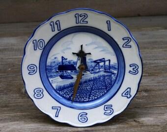 Delft Blue Windmill Clock Plate