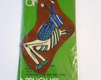 Vintage Grasshopper Applique / Wrights Sew On Appliques / Leather Look Applique