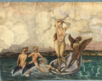 Antique painting of The Birth of Venus