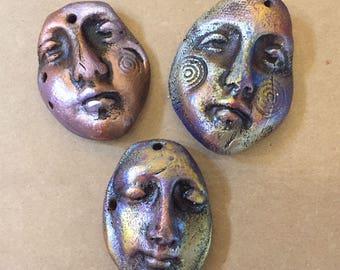 Three Celtic Forge Earthenware Shard Faces