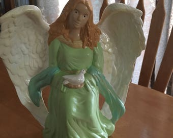 Angel with Dove on Pedestal