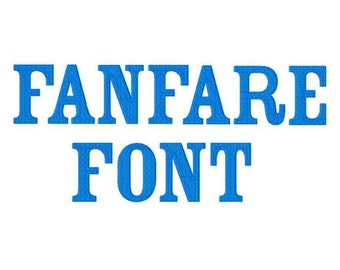 """Fanfare Font Machine Embroidery Design Pattern in 4 sizes 2"""", 3"""", 4"""" and 5"""""""