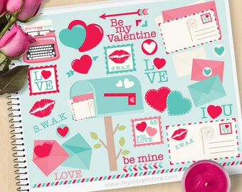 Valentines Day Clipart, Love Letters, Mail Box, Envelopes, typewriter, postal stamps, Commercial Use, Vector clip art, SVG Cut Files