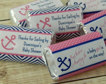 Anchor Baby Shower Ideas Girls Pink, Candy Bar Wrapper for Baby Shower, Anchors Away Baby Shower, Anchors Aweigh Nautical, Sheet of 18