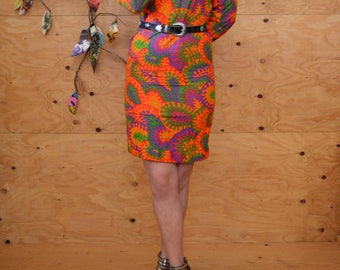 Vintage 60's Bohemian MOD Rocker Tunic Dress With Orange & Green Psychedelic Print Long Sleeves Size Small