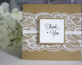 Thank You Cards Wedding, Rustic Thank You Cards, Rustic Wedding, Lace Wedding, Thank You Cards, Vintage Wedding Cards,
