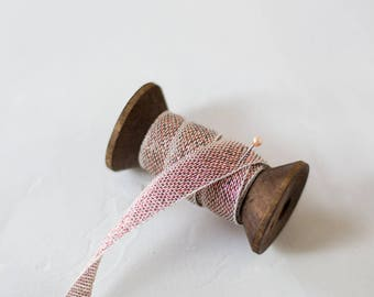 """Copper Metallic + Natural Loose Weave Cotton Ribbon (with Wooden Spool) - 5 yards - 1/2"""" wide"""