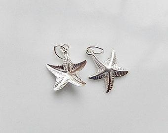 2 pcs Sterling silver Starfish charms (11x13mm)