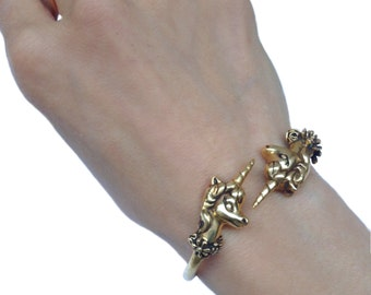 Unicorn Bracelet   cuff jewelry flowers  silver gold