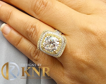 Huge Women's 14k solid white gold cushion cut forever one moissanite and natural diamond engagement ring and Band Bridal Wedding Halo 7.10ct