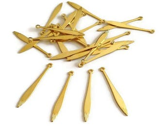 20 long thin charms drops, 25mm brass