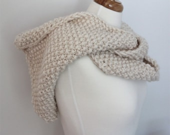 KNITTING PATTERN- Hooded Infinity Scarf PDF knitting pattern
