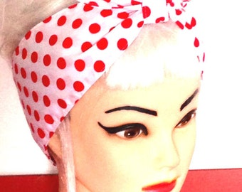 White Red Polka dots Rockabilly Head Scarf 50 s Pinup Vintage Retro