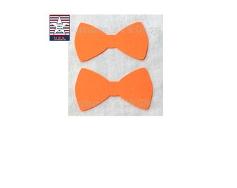 Orange Bowtie Cupcake Toppers, Baby Boy Shower, Bowtie Confetti, Fathers Day, Bow Diecut Cardstock, Dog Party, Halloween Confetti - 24 Ct.