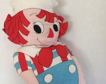 Vintage Raggedy Andy Pillow Doll,  Raggedy Andy plush doll, Raggedy pillow doll, Raggedy Andy fabric doll,  Bobbs-Merrill 1978
