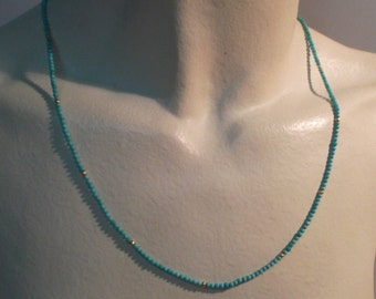 Minimalist necklace of turquoise and gold 18Kt