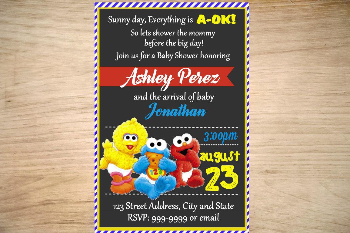 Sesame Street Baby Shower Invitation Sesame Street