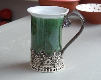 Ceramic Mug, Tea Mug,Handbuilding , Ceramics and pottery, Ceramic cup, Tea cup, Coffee cup, Coffee mug, Green mug, Handmade mug, Unique mug