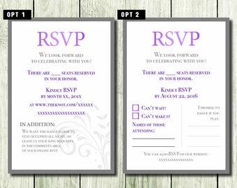 Wedding RSVP cards - Custom options