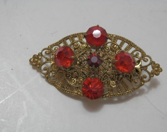 1940's Brooch / Pin Accessory Red Glass Stones