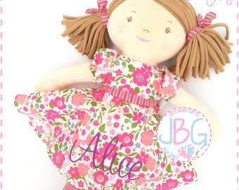 Personalised Rag Doll - Beautiful Quality Rag doll - Embroidered baby girls gift - Birthday or new baby gift - Katy Rag doll