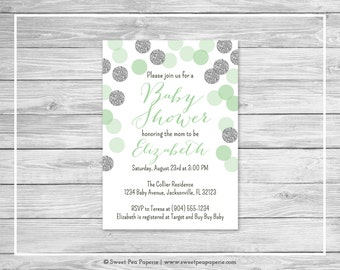 Mint and Silver Baby Shower Invitation - Printable Baby Shower Invitation - Mint and Silver Baby Shower - Baby Shower Invitation - SP125
