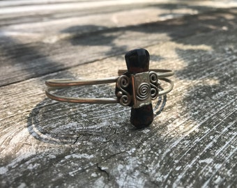 Peruvian bracelet / Alpaca silver / Natural Mahogany Obsidian Stone / Boho Bohemian Hippie Gypsy Tribal Gemstone Healing Crystal Artisanal