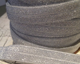 """5/8"""" SILVER Metallic FOE Fold Over Elastic sold by the yard"""