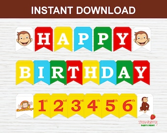 Curious George Happy Birthday Banner, Birthday Decorations Bunting, Party Printable, Instant Download