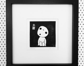 Hand printed Kodama linocut print, studio ghibli