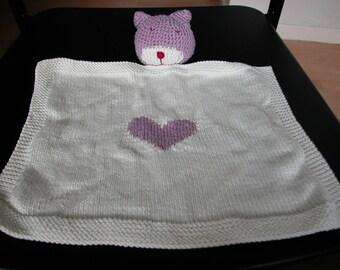 Purple Cat Head baby blanket