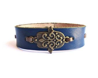 Mens leather bracelet hand of fatima leather bracelet bangle mens blue leather bracelet hamsa bracelet leather jewelry