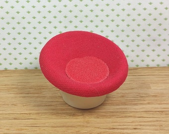 MINIATURE SAUCER CHAIR, Funky, Fun Mod Design, Plastic & Woven Fabric, Vintage Dollhouse Furniture