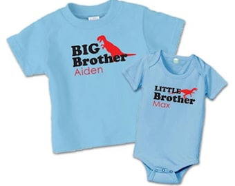 Matching big brother little brother shirts, dinosaur sibling shirts, matching sibling shirts, new baby gift
