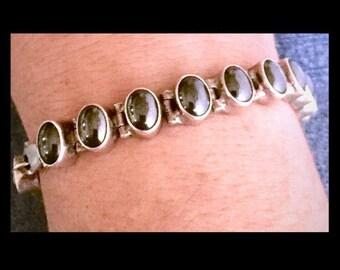 Vintage aCleoni Hematite Round Cabochon Sterling Silver Link Bracelet