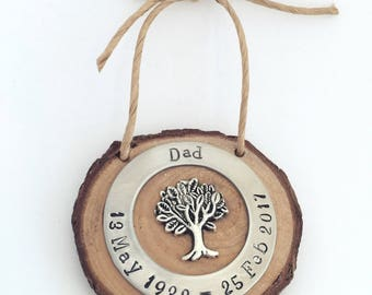 Wooden Memorial Ornament for remembering your loved one during the holidays/ Grandparents Memorial/Cremation Tree Memorial/Memorial Keepsake