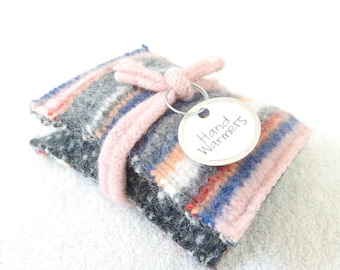 Hand Warmers PINK & GRAY STRIPES Felted Sweater Wool Rice Bags Reusable Handwarmers Pocket Hand Warmers Ecofriendly Gift by WormeWoole