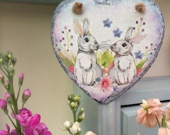 Decoupage Rabbit Bunny Hanging Slate Heart - Decoupage Easter Decoration - Wall Hanging Heart Decoration
