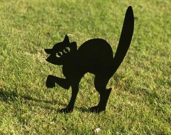 Spooky Black Cat, Halloween Cat, Scaredy Cat, Halloween Lawn Decor, Outdoor Halloween Decorations, Halloween Decor, Aluminum
