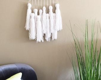 tassel wall hanging, wall tassels, yarn tassel banner, tassel garland, tassel mobile, woven wall hanging, weaving, woven tapestry, boho art