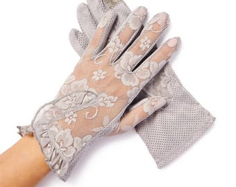Lacey Gray Floral Overlay Lace Gloves