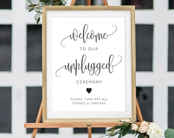 Printable Unplugged Wedding Signage/ Wedding Sign/ Unplugged/ Instant Download/ Wedding Printable/ PDF/ #066-05 Savannah suite