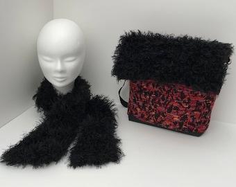 handbag and scarf set / / bag and scarf / / black faux fur / / wool bag / / handmade bag / / practical bag / / shoulder bag