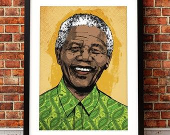Nelson Mandela portrait print, Nelson Mandela print, Nelson Mandela, Nelson Mandela art, Nelson Mandela poster,