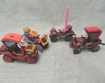 Set of 4 vintage, painted wood car birthday candle holders / cake candle holders child birthday