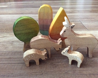 Deer family and magical forest, stacking toy, open ended play, Waldorf toy, wood toy, wooden toys