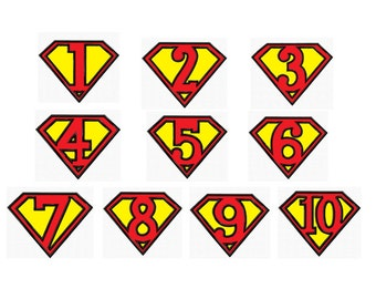 Set 10 Super Hero Numbers....3 Sizes...Applique Machine Embroidery DESIGN NO. 772